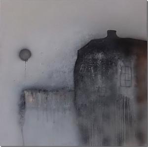 Abstrakt Bild Haus am See Cornelia Hauch Acrylbild