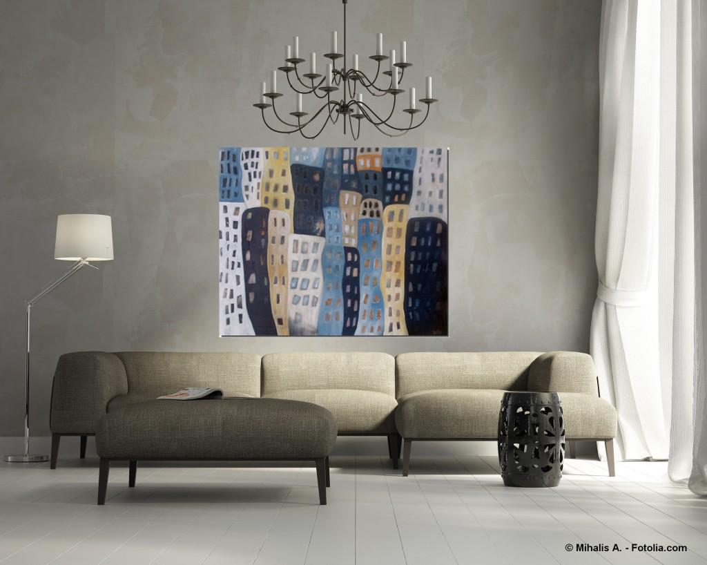 Acrylbild abstrakt die bunten Häuser 1Cornelia Hauch