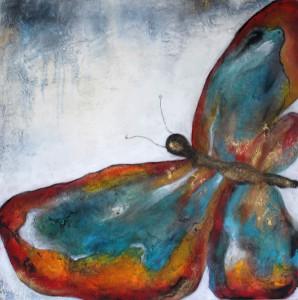 Acrylbild abstrakte Kunst Schmetterling Cornelia Hauch