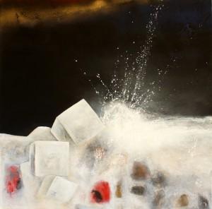 In Pesaro nachts am Meer Cornelia Hauch Kunst abstrakt