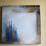 Abstrakte Kunst Atelierfenster Flaschen 6Cornelia Hauch