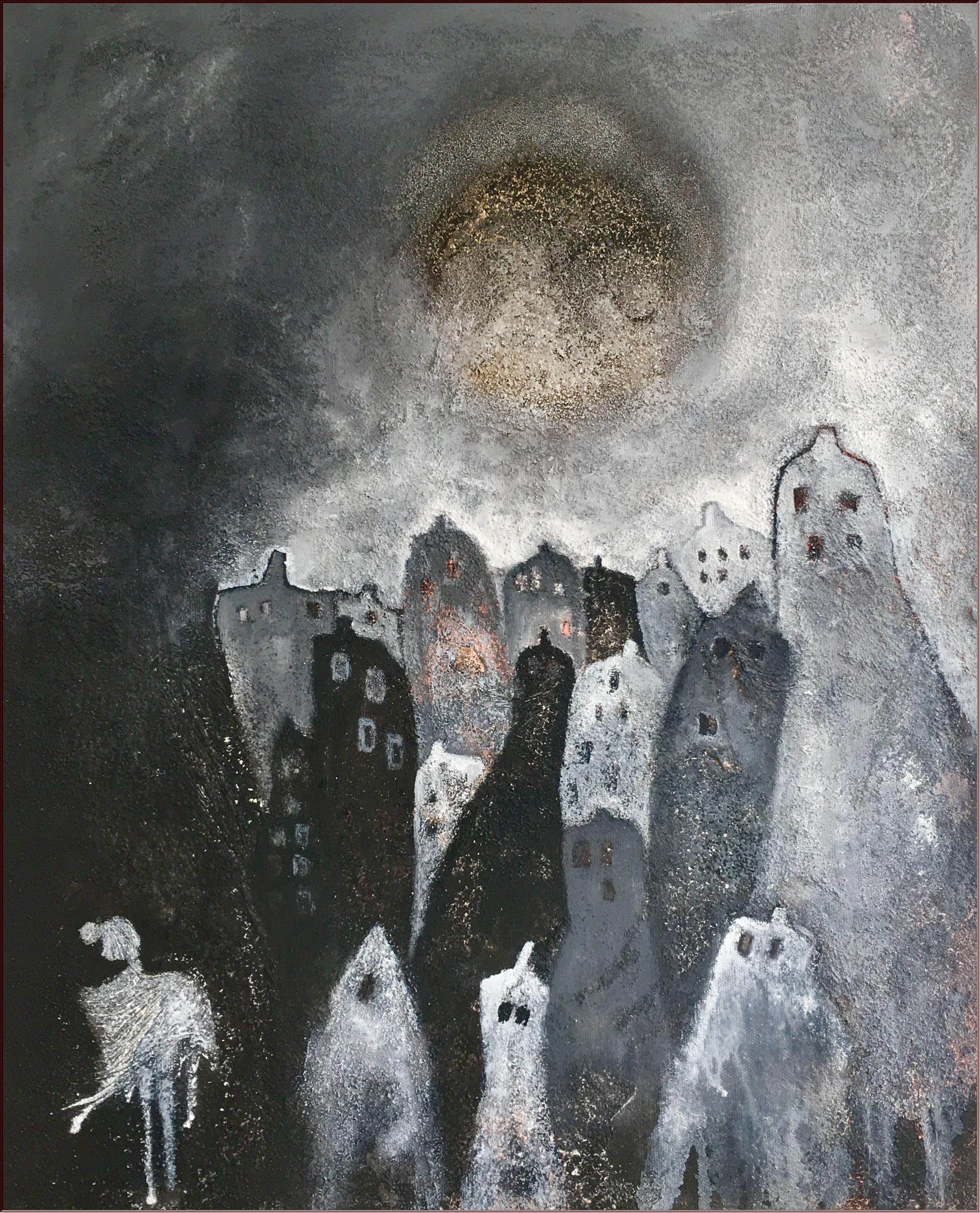 Abstrakte Kunst Alleine durch die Vollmondnacht Cornelia Hauch1